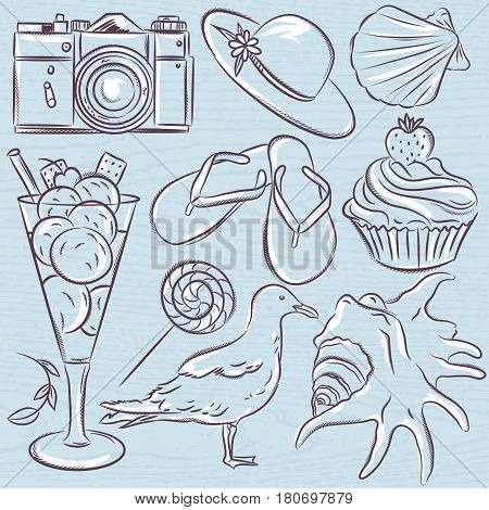 Set of summer symbols seashell seagull camera muffin hat ice cream on a blue grunge background vector illustration.