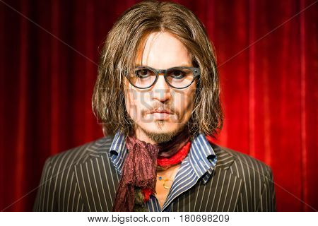 Johnny Depp Waxwork Figure At Madame Tussauds Mueum Thailand