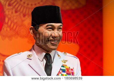 BANGKOK - JAN 29: A waxwork of Soekarno on display at Madame Tussauds on January 29, 2016 in Bangkok, Thailand. Madame Tussauds' newest branch hosts waxworks of numerous stars and celebrities