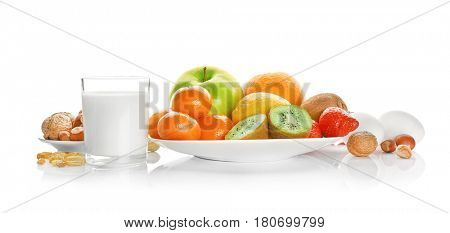 Allergy food concept. Allergic food on white background