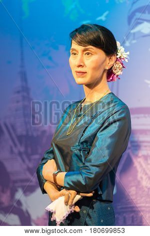 BANGKOK - JAN 29 : A waxwork of Aung San Suu Kyi on display at Madame Tussauds on January 29, 2016 in Bangkok, Thailand. Madame Tussauds' newest branch hosts waxworks of numerous stars and celebrities
