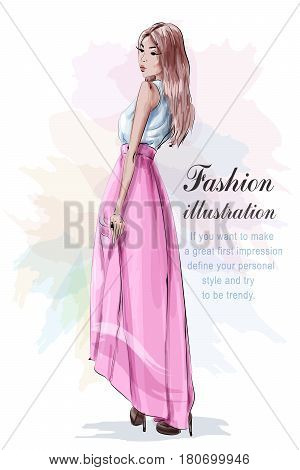 Beautiful woman in fashion clothes: blue light shirt, pink skirt and stylish shoes. Sketch. Fashion look. Vector illustration.