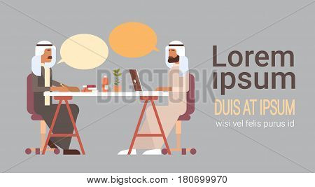 Arab Business Man Talking Discussing Chat Communication Sitting at Office Desk Flat Vector Illustration