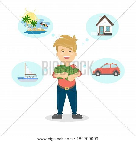 Man with dreams. Funny cartoon character with money dreams of car, house and relax.