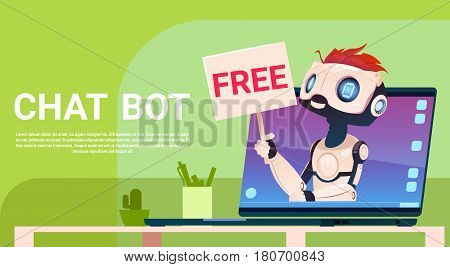 Chat Bot Free, Robot Virtual Assistance Of Website Or Mobile Applications, Artificial Intelligence Concept Flat Vector Illustration