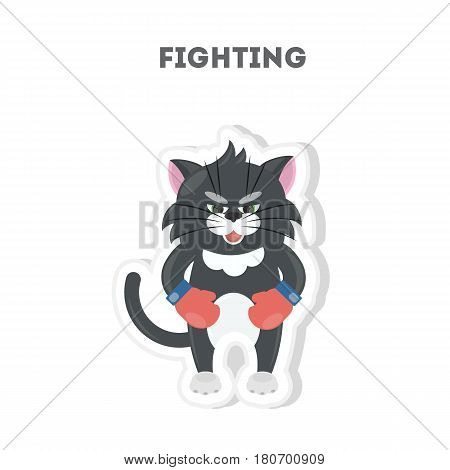 Ready to fight cat. Isolated cute sticker on white background.