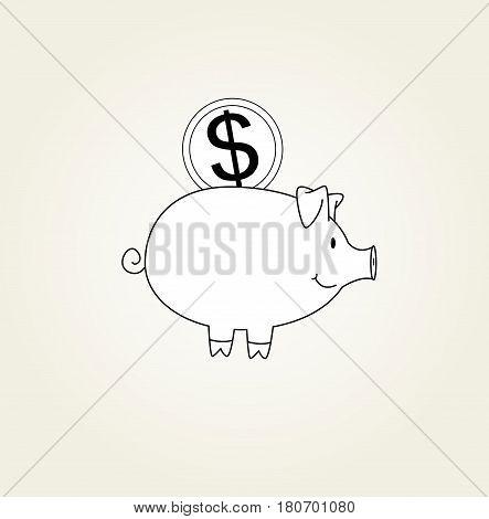 Money piggy box line illustration. Black and white vector illustration
