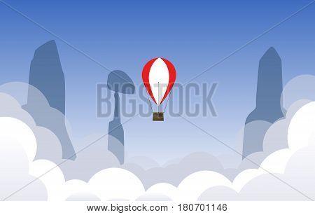 Air ballon flying over the sky. Vector background