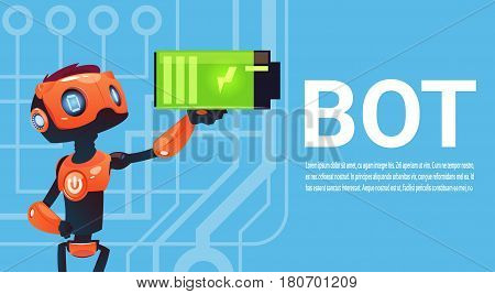 Chat Bot Hold Battery, Robot Virtual Assistance Element Of Website Or Mobile Applications, Artificial Intelligence Concept Flat Vector Illustration