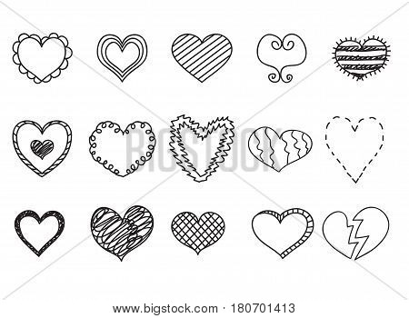 Doodle heart icons set hand drawn vetor illustrations.