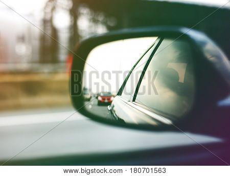 Car Side Mirror Traffic View Travel