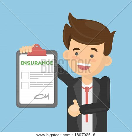 Man approves insurance document. health care or car, house or finance security.