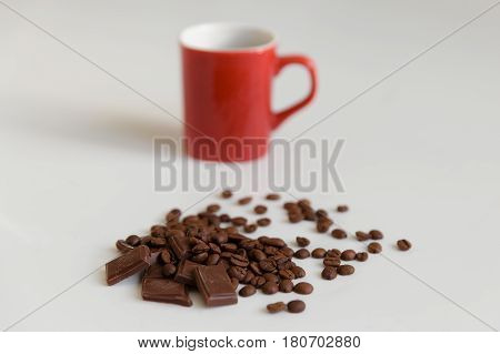 Fragrant Coffee In A Combination To Gentle Chocolate And Red Cup.