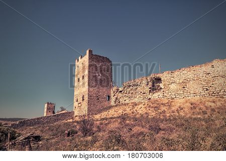 Ancient Genoese fortress in the city of Feodosia, Crimea, Russia