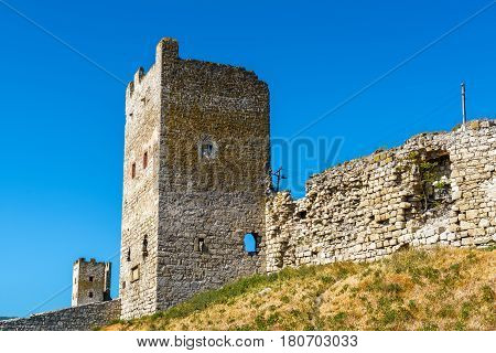 The Ruins of Genoese fortress in ancient city of Feodosia, Crimea, Russia