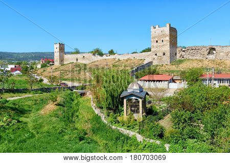 Ancient Genoese fortress in the city of Feodosia in Crimea, Russia