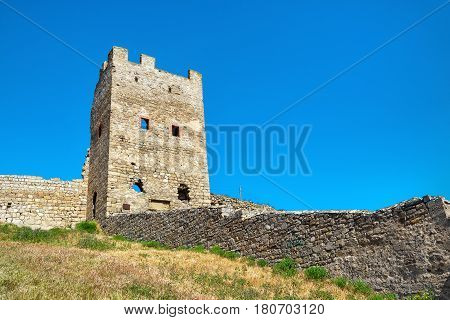 Ruins of ancient Genoese fortress in the city of Feodosia Crimea, Russia