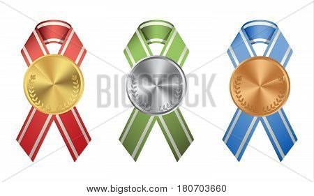 Ribon medals set on white background. Golden, silver and bronze.