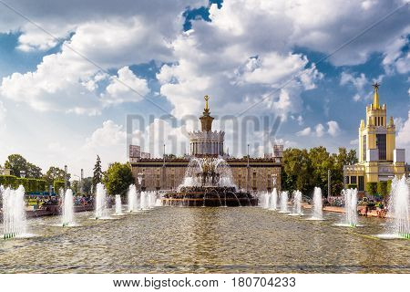 MOSCOW - JULY 29, 2016: The Stone Flower Fountain in Exhibition of Achievements of National Economy (VDNKh). This fountain was built in 1954.
