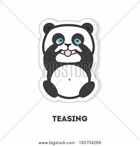 Teasing panda bear. Isolated sticker on white background.