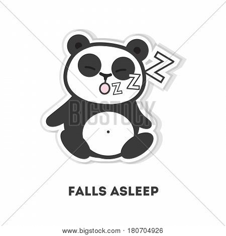 Asleep panda bear. Isolated cute sticker on white background.