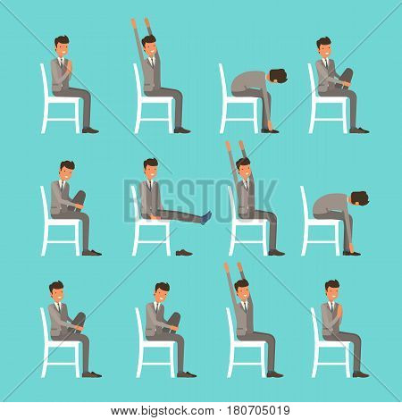 Vector Illustration With Office Chair Yoga. Businessman Doing Sun Salutation Stretching. Man In Suit