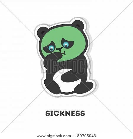 Isolated sick panda. Cute funny character on white background.