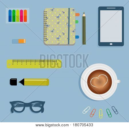 Stationery: A day planner spiral-bound with the cute blue birds and yellow polka dots. A tab. The glasses. A pencil. A rubber. A colorful stickers. Clips. A marker. A cup of coffee with a heart. Vector illustration