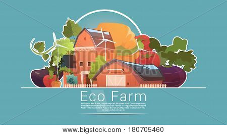 Eco Farming, Farm House, Farmland With Wind Turbine Renewable Energy Station Flat Vector Illustration