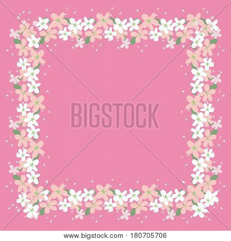 Beautiful frame of flowers on a pink background