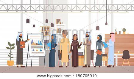 Arab Business People Group Presentation Flip Chart Finance, Arabic Businesspeople Team Training Conference Muslim Meeting Flat Vector Illustration