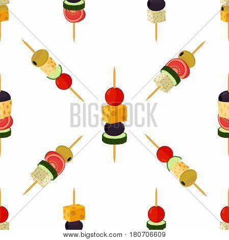 Canapes, tapas seamless pattern. Cartoon flat style. Buffet, restaurant food, appetizer, snack. Olive, ham, cheese, brie, tomato, cucumber and other vegetables, meat.