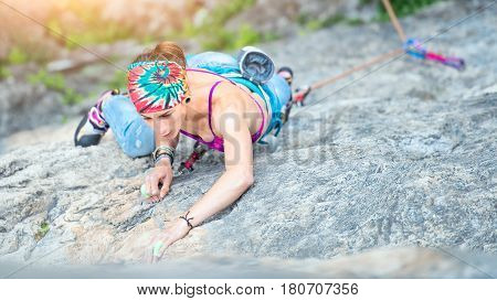 Concentrated Girl In A Rock Climbing Passage