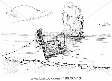 Thailand Landscape, Rock, Long Tail Boat Seascape Hand Drawn Vector Illustration