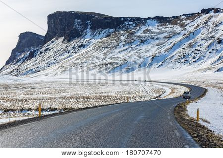 Winter Mountain range road in a sunny day at Vik, Southern of Iceland