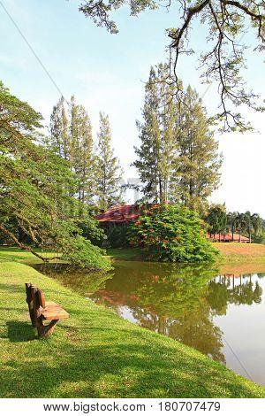 wodden chair at lake garden in taiping malaysia