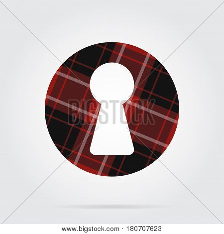 red black isolated tartan icon with white stripes - keyhole and shadow in front of a gray background