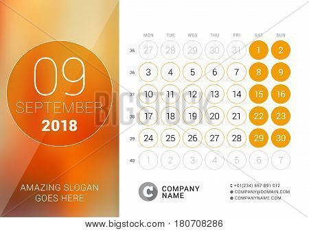 September 2018. Desk Calendar For 2018 Year. Vector Design Print Template With Place For Photo. Week