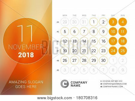 November 2018. Desk Calendar For 2018 Year. Vector Design Print Template With Place For Photo. Week