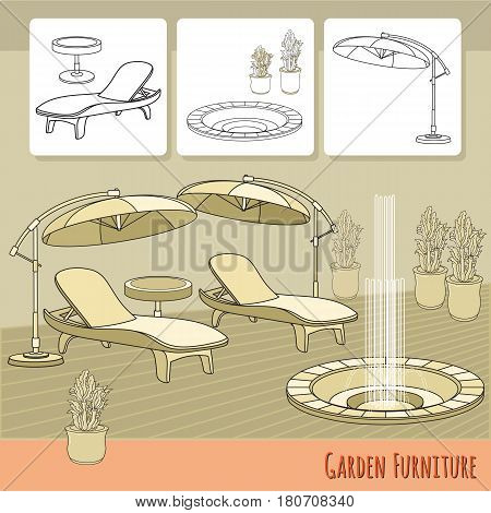 Vector illustration of hand drawn lounge chairs, umbrella,  fountain and flowers in pot. Garden accessory on beige  background. Landscape design. Summer backyard with outdoor furniture. Rest area.