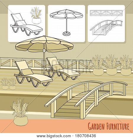 Vector illustration of hand drawn lounge chairs, umbrella,  bridge and flowers in pot. Garden accessory on beige  background. Landscape design. Summer backyard with outdoor furniture. Rest area.