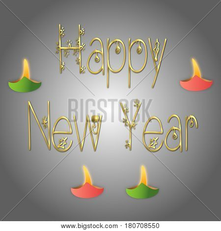 Happy New year with lights on grey background