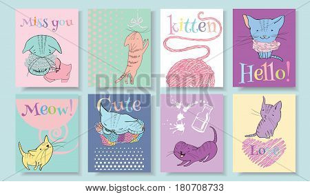 Vector sketch style cute little kitten banners set. Funny characters with text on bright colorful background. Can be used as book illustration, copybook or children products design, T-shirt print