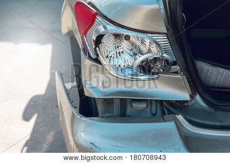 Broken tail light , accident car, insurance