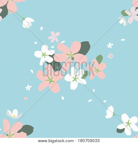 Seamless pattern with large flowers of Apple trees on the pale blue background. Spring light airy texture for textiles and various designs. vector