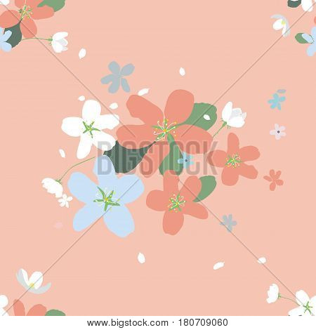 Seamless pattern with large flowers of Apple trees on soft pink background. Spring light airy texture for textiles, Wallpaper, and various designs. vector
