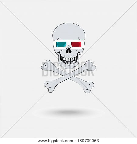 Pirate symbol as a skull with 3d glasses and crossed bones isolated on the white background. Design idea concept unlicensed pirate video.