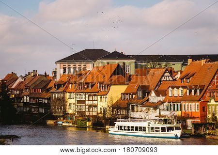 Panorama Of The Old Town Pier Architecture In Bamberg, Bavaria, Germany