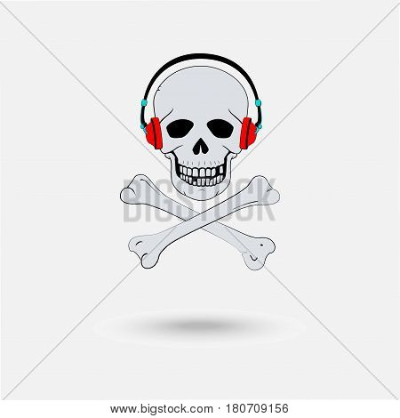 Pirate symbol as a skull with headphones and crossed bones isolated on the white background. Design idea concept unlicensed pirate video.