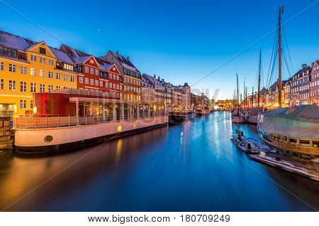 Copenhagen Nyhavn, New port of Copenhagen, sunset in Denmark poster